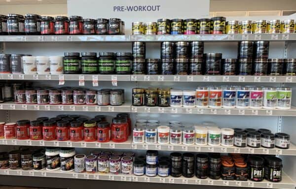 What Is A Pre Workout Supplement For - pre workout section on store shelves