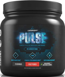 What Is The Best Stimulant Free Pre Workout - container of legion pulse pre workout