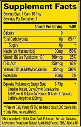 C4 Energy Drink Ingredients - supplemental facts label