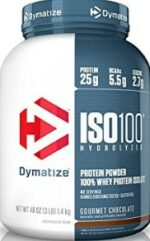 pre workout protein powder - container of dymatize protein powder