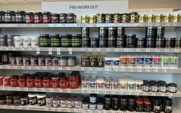 Pre workout supplements on store shelves