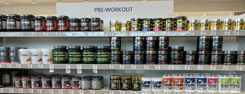 pre workout challenge- store shelves with pre workout supplements