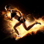 pre workout fat burner - woman running on fire