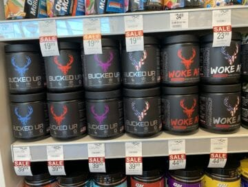 Bucked up pre workout review - Shelf full of Bucked up pre workout