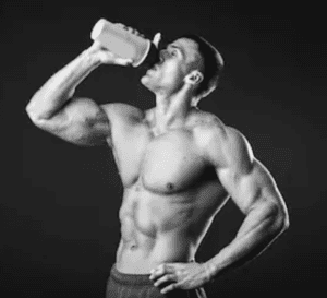 Gorilla pre workout - man drinking shake