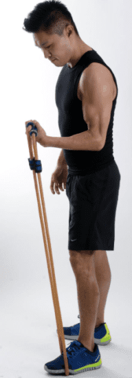 Resistance Band Home Gym System - Man doing exercises band curls