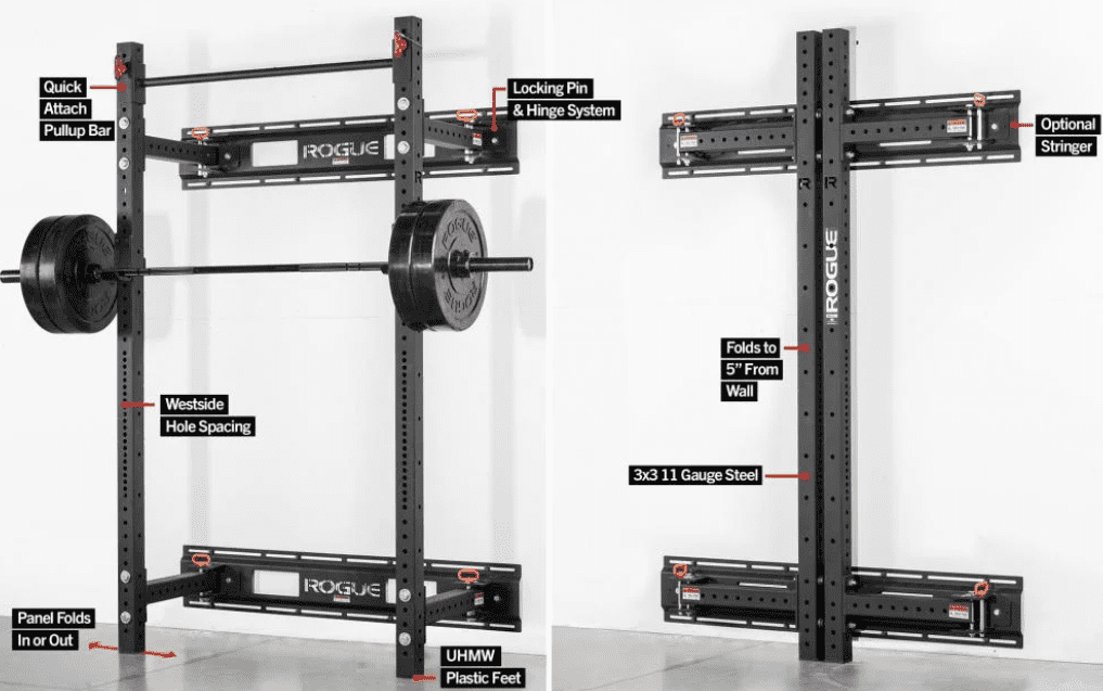 Small Home Gym Ideas - Rogue foldable squat rack dimensions