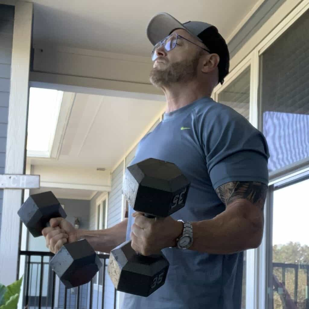 Fitness Gear Hex Dumbbell Review - me doing a dumbbell curl