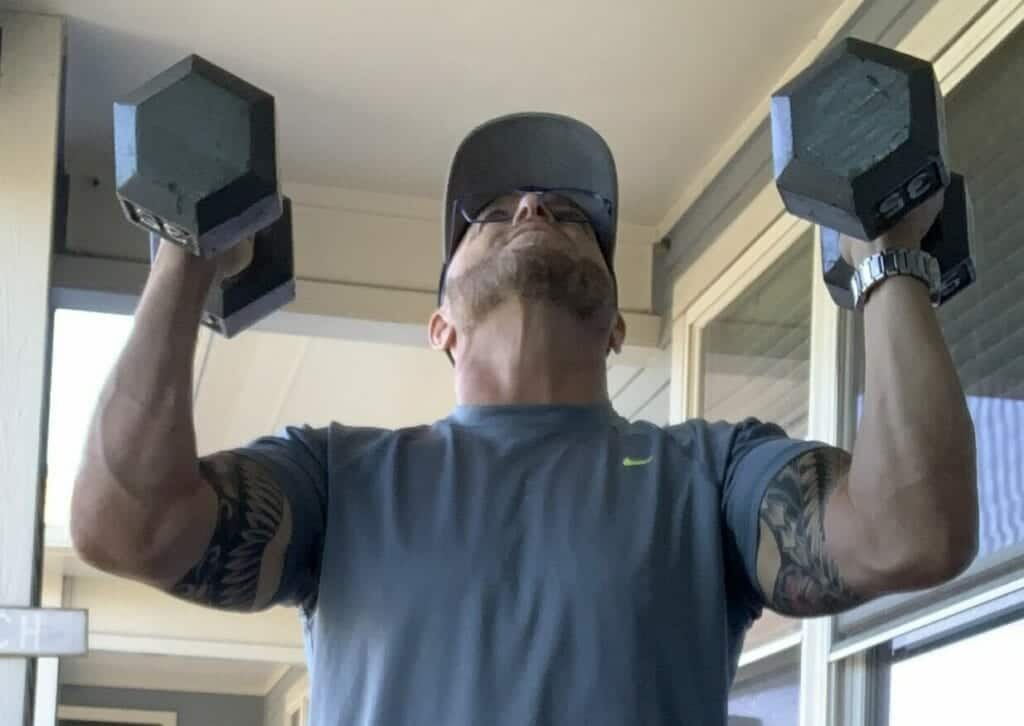 Fitness Gear Hex Dumbbell Review - me doing dumbbell presses