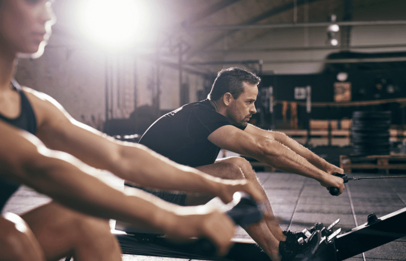 Rowing Machine Workouts for Weight Loss - Rowing machine at gym