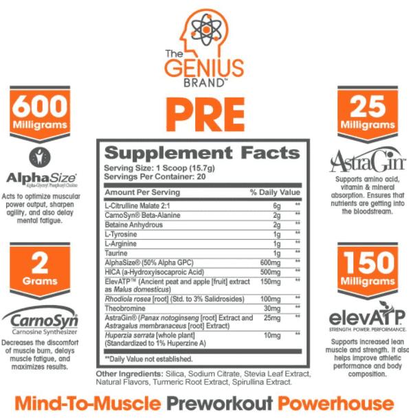 Genius Pre Workout Review - Genius pre workout ingredients